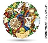 coffee doodles sketch circle.... | Shutterstock .eps vector #199426934