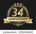 34 year anniversary. gold round ... | Shutterstock .eps vector #1994328341