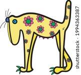 dog with flowers  vector art... | Shutterstock .eps vector #1994363387