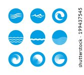 wave icon set   ocean  sea ... | Shutterstock .eps vector #199437545
