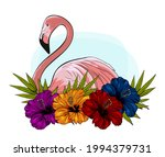 flamingos  hibiscus flowers and ... | Shutterstock .eps vector #1994379731