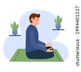 man meditating with plants on...   Shutterstock .eps vector #1994401217