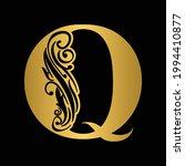 golden  letter q. vintage... | Shutterstock .eps vector #1994410877