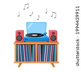 turntable playing vinyl record. ... | Shutterstock .eps vector #1994439911