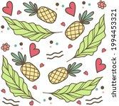 summertime pineapple and leaves ... | Shutterstock .eps vector #1994453321