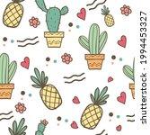 summertime pineapple and cactus ... | Shutterstock .eps vector #1994453327
