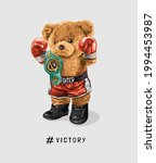 victory slogan with bear doll... | Shutterstock .eps vector #1994453987