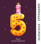birthday cake font number 5...   Shutterstock .eps vector #1994466404
