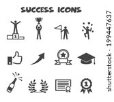 success icons  mono vector... | Shutterstock .eps vector #199447637