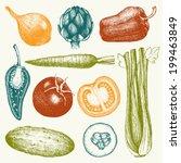 vector collection of  ink hand... | Shutterstock .eps vector #199463849