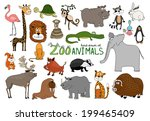 set of hand drawn zoo animals... | Shutterstock . vector #199465409