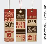 price tag  sale coupon  voucher.... | Shutterstock . vector #199466405