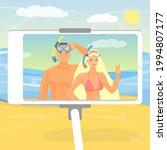 happy couple taking selfie on... | Shutterstock .eps vector #1994807177