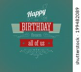 vintage birthday card. editable ... | Shutterstock . vector #199482089