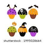 set of 6 happy halloween cakes... | Shutterstock .eps vector #1995028664