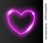 glowing neon purple heart with... | Shutterstock .eps vector #1995106094