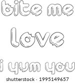 set of candy like titles. love. ... | Shutterstock .eps vector #1995149657