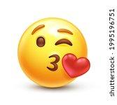kiss emoji. love emoticon with...   Shutterstock .eps vector #1995196751