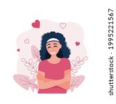 the girl hugs herself  loving... | Shutterstock .eps vector #1995221567