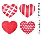 hand drawn watercolor hearts set | Shutterstock .eps vector #1995242624