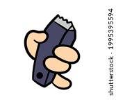 cartoon hand holding electric... | Shutterstock .eps vector #1995395594