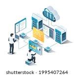 isometric illustration design... | Shutterstock .eps vector #1995407264