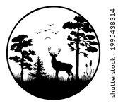 a black silhouette of a deer... | Shutterstock .eps vector #1995438314