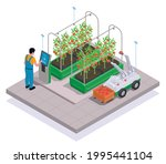 modern greenhouse isometric and ... | Shutterstock .eps vector #1995441104