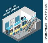 blue line metro station...   Shutterstock .eps vector #1995441221