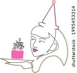 birthday east asian girl with... | Shutterstock .eps vector #1995453314