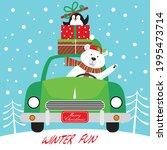 christmas car and polar bear... | Shutterstock .eps vector #1995473714