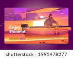 enjoy moment banner with man in ... | Shutterstock .eps vector #1995478277