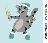 cute gray cat in a new year's... | Shutterstock .eps vector #1995481787