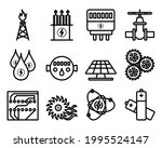energy icon set. bold outline...