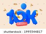 10k followers thank you 3d blue ... | Shutterstock .eps vector #1995544817