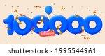 100000 followers thank you 3d... | Shutterstock .eps vector #1995544961