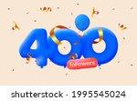 400 followers thank you 3d blue ... | Shutterstock .eps vector #1995545024