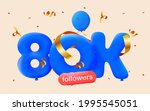 80k followers thank you 3d blue ... | Shutterstock .eps vector #1995545051
