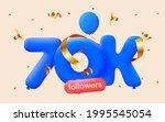 70k followers thank you 3d blue ... | Shutterstock .eps vector #1995545054