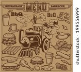 cliparts of barbeque items and... | Shutterstock .eps vector #199556999