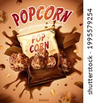 3d chocolate popcorn ad....   Shutterstock .eps vector #1995579254