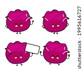 funny cute happy red cabbage... | Shutterstock .eps vector #1995616727
