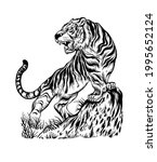 asian style hand drawn tiger...   Shutterstock .eps vector #1995652124