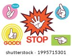 stop  pointing  thumbs up  hand ... | Shutterstock .eps vector #1995715301