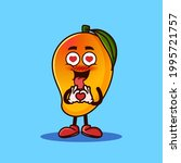 cute mango fruit character with ... | Shutterstock .eps vector #1995721757