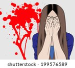 girl covers her face with her... | Shutterstock .eps vector #199576589