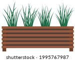 long  low flowerpot with small... | Shutterstock .eps vector #1995767987