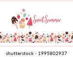 border of tasty sweet food....   Shutterstock .eps vector #1995802937
