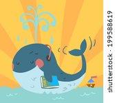 vector cartoon cute blue whale. ... | Shutterstock .eps vector #199588619