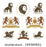 lions heraldic set with banners ...